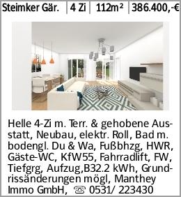 Steimker Gär. 4 Zi 112m² 386.400,-€ Helle 4-Zi m. Terr. & gehobene Ausstatt,...