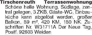 Tirschenreuth Terrassenwohnung...