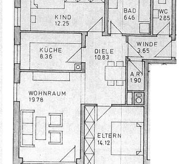 Die Wohnung besteht aus Flur, Bad mit Badewanne, Gäste-WC, Abstellkammer,...