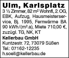 Ulm, Karlsplatz 3 1/2 Zimmer