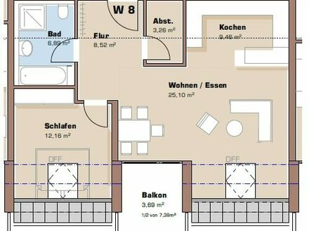 Grundriss Dachgeschoss Wohnung 8 / Haus 2
