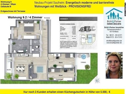 KFW55 - 4 Zimmer, 99qm, Terrasse und Aufzug in die Tiefgarage - Saulheimer Talblick