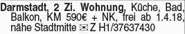 2-Zimmer Mietwohnung in Darmstadt (64283)