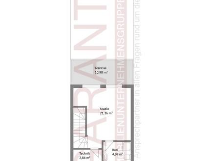 * Neubau-Reihenmittelhaus mit Sichtdachstuhl, Dachterrasse und zwei Tiefgaragenstellplätzen *