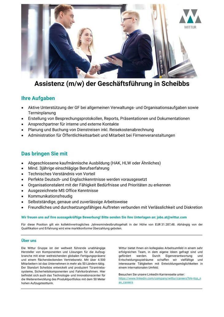Hoch hinaus mit Wittur! Für unseren Standort in Scheibbs suchen wir eine/n motivierte/n Assistent/in der Geschäftsführung. Wir freuen uns auf Ihre aussagekräftige Bewerbung!