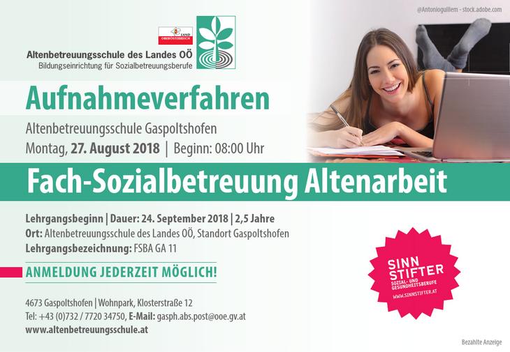 Lehrgangsbeginn | Dauer: 24. September 2018 | 2,5 Jahre Ort: Altenbetreuungsschule des Landes OÖ, Standort Gaspoltshofen