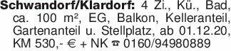 Schwandorf/Klardorf: 4 Zi., Kü...