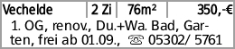 Vechelde 2 Zi 76m² 350,-€ 1. OG, renov., Du.+Wa. Bad, Garten, frei ab 01.09.,...