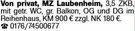 3-Zimmer Mietwohnung in Mainz Laubenheim (55130)