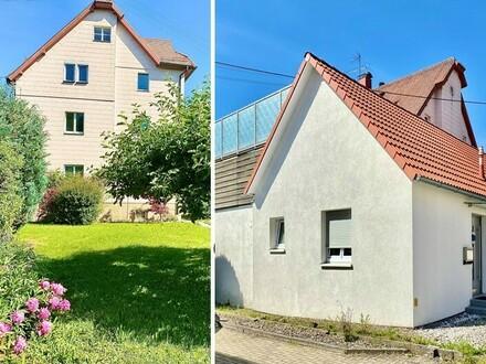 Mehrgenerationenhaus auf 3 Etagen mit angebautem, komplett sanierten Einfamilienhaus sowie einer großen Garage in 88427 Bad…