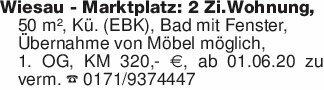 Wiesau - Marktplatz: 2 Zi.Wohn...