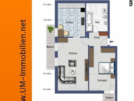 Schöne, gepflegte 2 Zi.-Dachgeschoss-Wohnung mit Einbauküche und 2 Balkonen