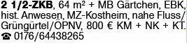 2-Zimmer Mietwohnung in Mainz-Kostheim (55246)