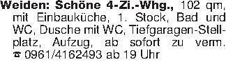 Weiden: Schöne 4-Zi.-Whg., 102...