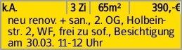 k.A. 3 Zi 65m² 390,-€ neu renov. + san., 2. OG, Holbeinstr. 2, WF, frei...
