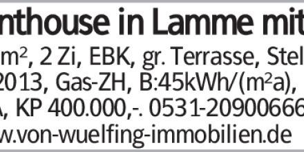 Penthouse in Lamme mit 105m², 2 Zi, EBK, gr. Terrasse, Stellpl., Bj. 2013,...