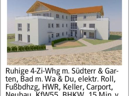 Ruhige 4-Zi-Whg m. Südterr & Garten, Bad m. Wa & Du, elektr. Roll, Fußbdhzg,...