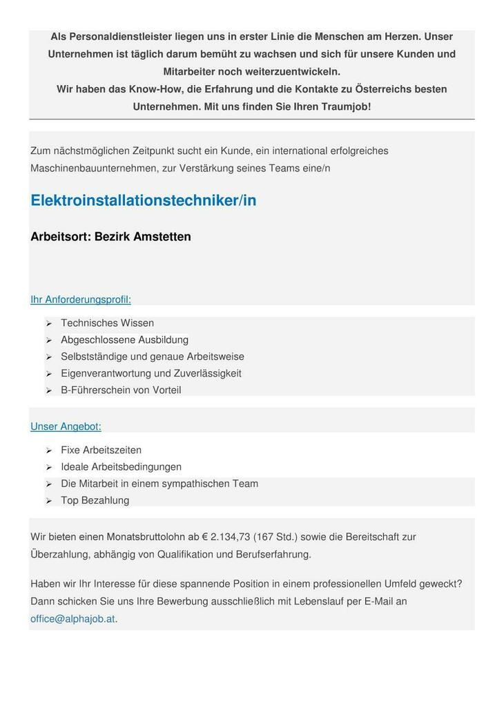 Elektroinstallationstechniker (m/w) Bezirk Amstetten
