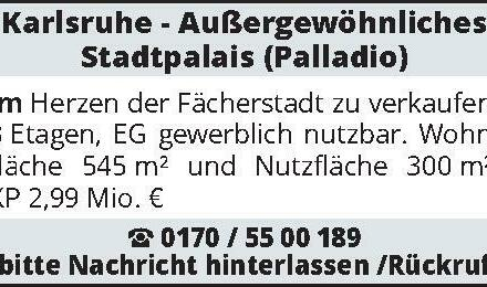Karlsruhe – Außergewöhnliches Stadtpalais