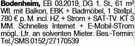 2-Zimmer Mietwohnung in Bodenheim (55294)