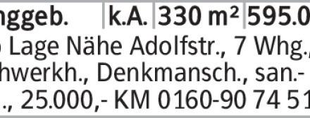 Anzeigentitel Top Lage Nähe Adolfstr., 7 Whg., Fachwerkh., Denkmansch.,...