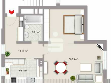 Gut geschnittene 1 1/2-Zimmer-Wohnung