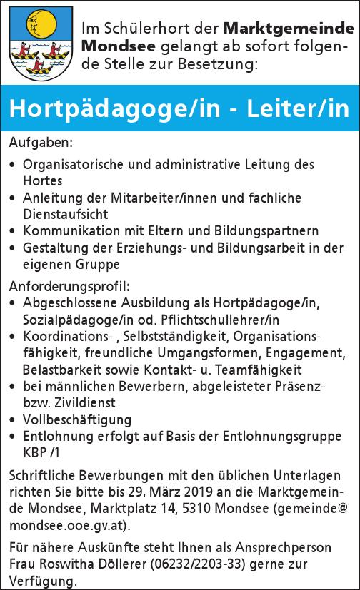 Im Schülerhort der Marktgemeinde Mondsee gelangt ab sofort folgende Stelle zur Besetzung: