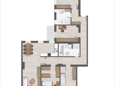 5 Zimmer mit 155 m² Wohnfläche und kleinem Balkon