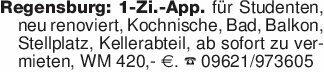 Regensburg: 1-Zi.-App. für Stu...