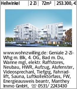 Hellwinkel 2 Zi 72m² 253.300,-€ www.wohnzwilling.de: Geniale 2-Zi-Whg m....