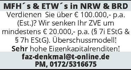 MFH´s & ETW´s in NRW & BRD