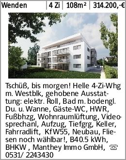 Wenden 4 Zi 108m² 314.200,-€ Tschüß, bis morgen! Helle 4-Zi-Whg m. Westblk,...