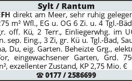 Sylt / Rantum EFH direkt am Meer