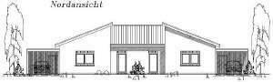 Pultdach Doppelhaushälfte mit Carportanlage - rechts