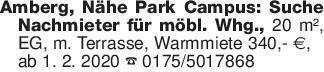 Amberg, Nähe Park Campus: Such...
