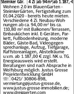 Steimker Gär. 4 Zi ab 94m² ab 1.187,-€ Wohnen 2.0 im BlauenGarten - SteimkerGärten,...