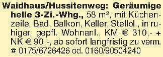 Waidhaus/Hussitenweg: Geräumig...