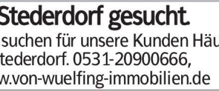 In Stederdorf gesucht. Wir suchen für unsere Kunden Häuser in Stederdorf....