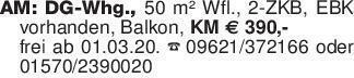 AM: DG-Whg., 50 m² Wfl., 2-ZKB...