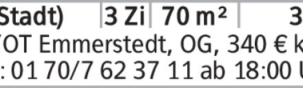 HE/OT Emmerstedt, OG, 340 € kalt; Tel.: 0170/7623711 ab 18:00 Uhr