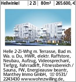Hellwinkel 2 Zi 80m² 265.600,-€ Helle 2-Zi-Whg m. Terrasse, Bad m. Wa....
