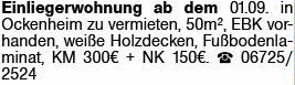 1-Zimmer Mietwohnung in Ockenheim (55437)