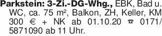 Parkstein: 3-Zi.-DG-Whg., EBK...