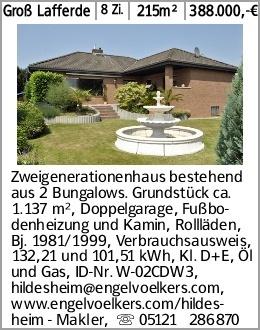 Groß Lafferde 8 Zi. 215m² 388.000,-€ Zweigenerationenhaus bestehend aus...