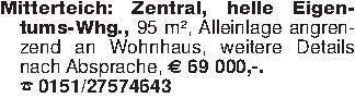 Mitterteich: Zentral, helle Ei...