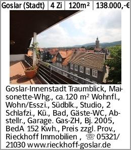 Goslar (Stadt) 4 Zi 120m² 138.000,-€ Goslar-Innenstadt Traumblick, Maisonette-Whg.,...