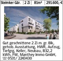 Steimker Gär. 2 Zi 81m² 291.600,-€ Gut geschnittene 2 Zi m. gr. Blk, gehob....