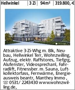 Hellwinkel 3 Zi 94m² 319.800,-€ Attraktive 3-Zi-Whg m. Blk, Neubau, Hellwinkel...