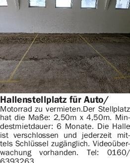 Vermietung Garagen/Stellplätze