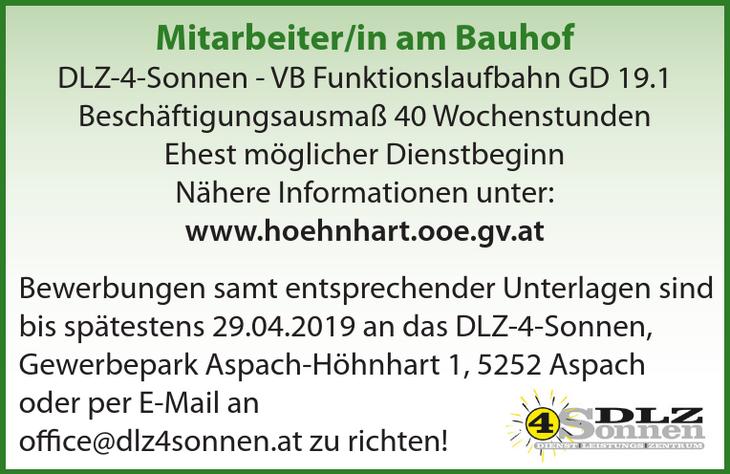 Mitarbeiter/in am Bauhof DLZ-4-Sonnen - VB Funktionslaufbahn GD 19.1 Beschäftigungsausmaß 40 Wochenstunden Ehest möglicher Dienstbeginn